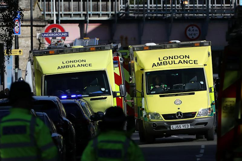 Police, fire and ambulance crew attend to an incident at Parsons Green underground station in London, Britain, September 15, 2017. REUTERS/Luke MacGregor