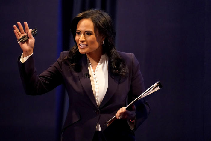 """FILE - Moderator Kristen Welker of NBC News arrives prior to the second and final presidential debate between Republican candidate President Donald Trump and Democratic presidential candidate former Vice President Joe Biden in Nashville, Tenn., on Oct. 22, 2020. Welker is revealing her struggles with infertility. She and her husband, John Hughes, are expecting the birth of a daughter this June through a surrogate. NBC said Welker would be doing stories about infertility on the weekend edition of """"Today."""" (AP Photo/Julio Cortez, File)"""
