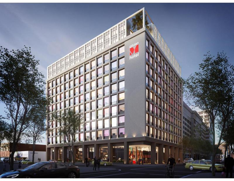 A rendering of CitizenM's new Los Angeles hotel, set to open at the end of 2020. Photo credit: CitizenM.