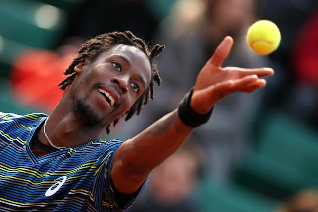 PARIS, FRANCE - MAY 31: Gael Monfils of France serves during his Men's Singles match against Tommy Robredo of Spain during day six of the French Open at Roland Garros on May 31, 2013 in Paris, France. (Photo by Clive Brunskill/Getty Images)