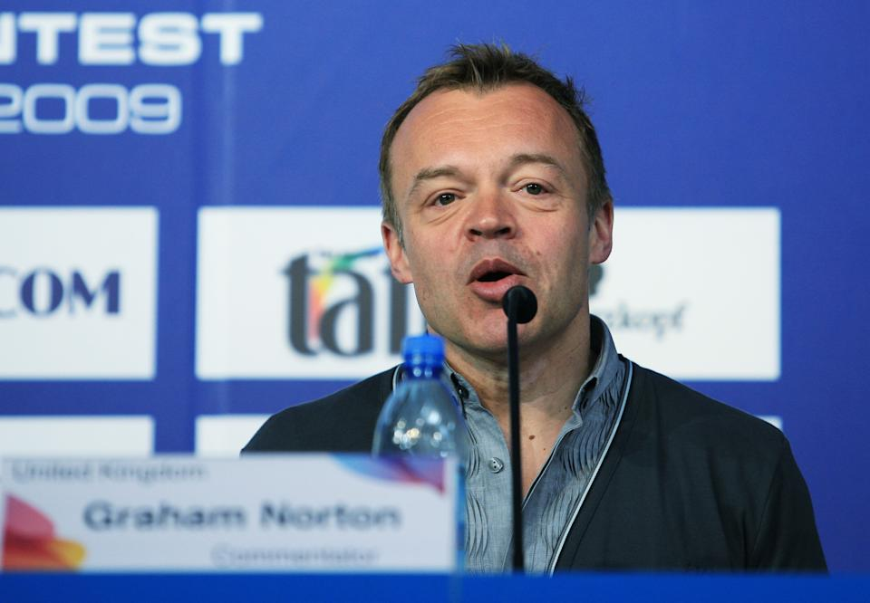 MOSCOW - MAY 15:  TV Personality and host Graham Norton speaks during a press conference ahead of the Eurovision Song Contest on May 15, 2009 in Moscow, Russia. The Final of the 2009 Eurovision Song Contest will be held on May 16. (Photo by Oleg Nikishin/Epsilon/Getty Images)