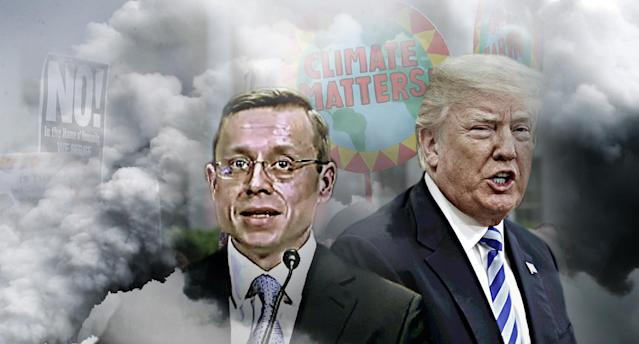 Environmentalists are highly critical of the nomination of Andrew Oldham by President Trump. (Photo illustration: Yahoo News; photos: video still: Committee on the Judiciary, J. Scott Applewhite/AP, Steve Helber/AP, Joshua Roberts/Reuters)