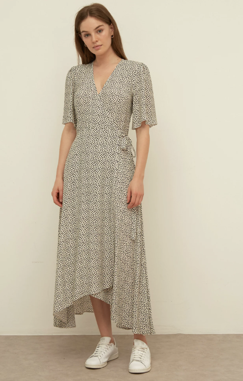 Heart Print V-Neck Midi Wrap Dress  (Nobody's Child/M&S)
