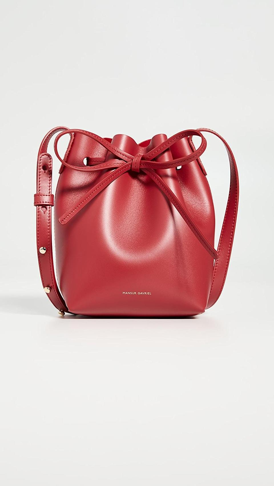 <p>This <span>Mansur Gavriel Mini Mini Bucket Bag</span> ($465) is a classic you'll want to wear all the time.</p>