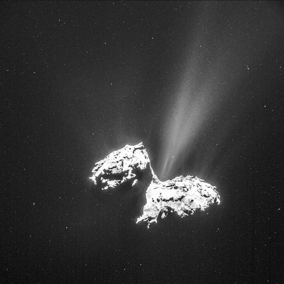 Comet 67P/Churyumov-Gerasimenko's amazing jets can be seen from a distance in this image taken by the Rosetta spacecraft on Feb. 6, 2015.