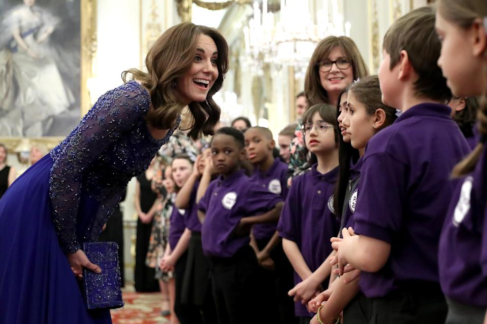 The Duchess at a dinner for Place2Be, which provides emotional support at an early age and believes no child should face mental health difficulties alone. (Getty Images)