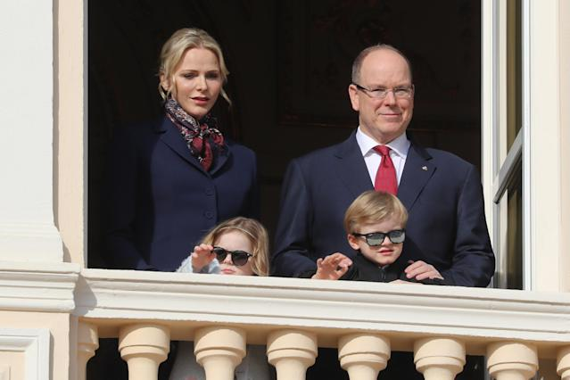 Prince Albert II of Monaco, Princess Charlene of Monaco, Prince Jacques and Princess Gabriella appear on the palace's balcony during Sainte Devote Celebrations in Monaco on January 27, 2020. - Saint Devote is the patron saint of the Grimaldi family, reigning in Monaco, and is celebrated each year as a national holiday. (Photo by VALERY HACHE / AFP) (Photo by VALERY HACHE/AFP via Getty Images)