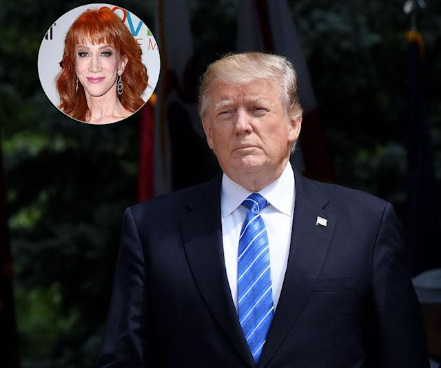 "Donald Trump calls Kathy Griffin ""sick"" for participating in a photo shoot that featured her holding up a bloody ""head"" that looked like him. (Photo: Getty Images)"