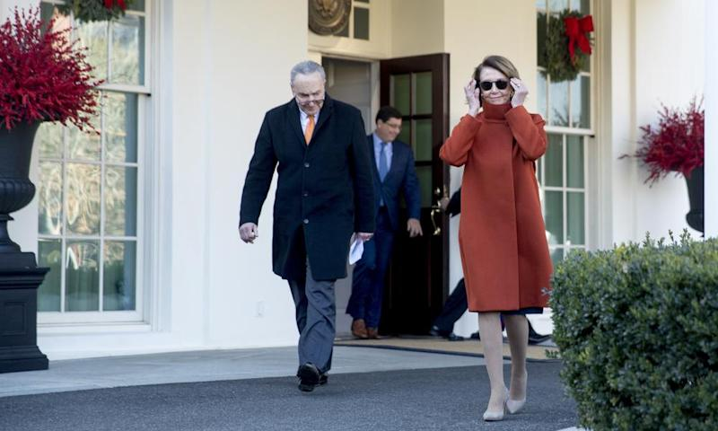 Chuck Schumer,Nancy PelosiHouse Minority Leader Nancy Pelosi of Calif., right, and Senate Minority Leader Sen. Chuck Schumer of N.Y., left, walk out of the West Wing to speak to members of the media outside of the White House in Washington, Tuesday, Dec. 11, 2018, following a meeting with President Donald Trump. (AP Photo/Andrew Harnik)