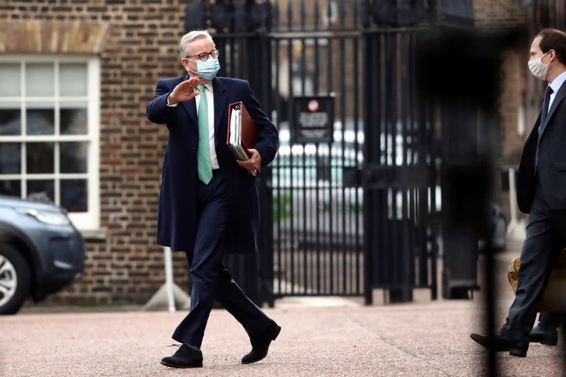 Britain's Chancellor of the Duchy of Lancaster Michael Gove leaves Lancaster House in London