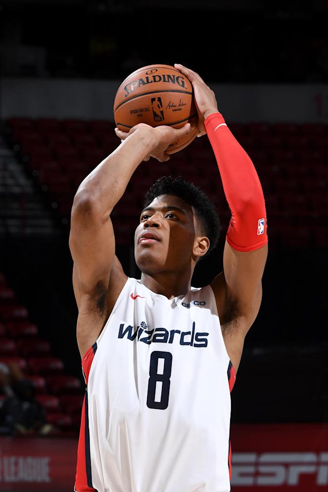 LAS VEGAS, NV - JULY 11: Rui Hachimura #8 of the Washington Wizards shoots a free-throw against the Atlanta Hawks on July 11, 2019 at the Thomas & Mack Center in Las Vegas, Nevada. (Photo by Garrett Ellwood/NBAE via Getty Images)