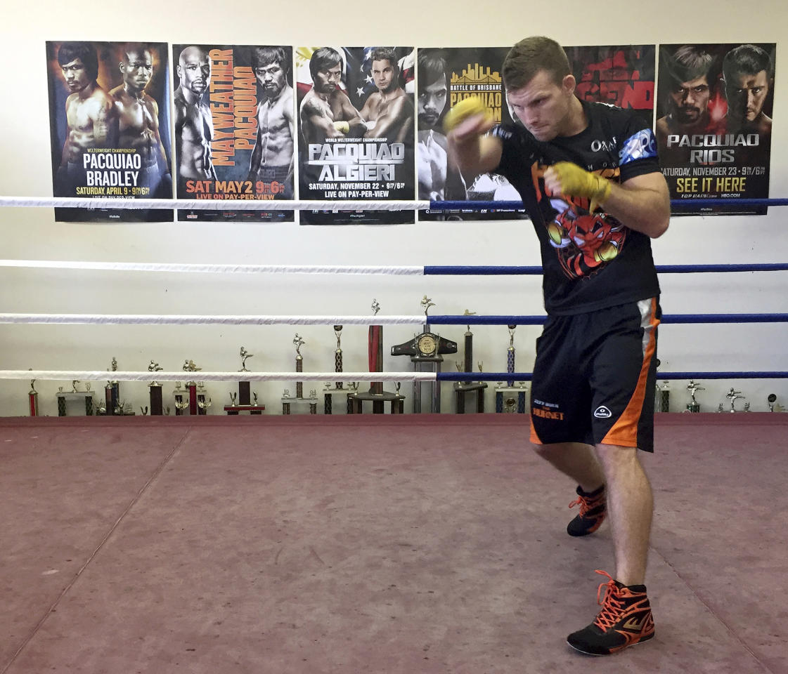 Boxer Jeff Horn trains in a gym in Brisbane, Australia, Monday, June 26, 2017. Horn is preparing for his WBO welterweight world boxing title bout against Filipino Manny Pacquiao on Sunday, July 2. (AP Photo/John Pye)