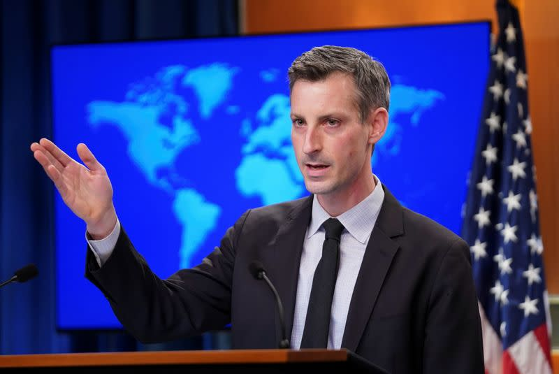 U.S. State Department Spokesman Ned Price holds news briefing at State Department in Washington