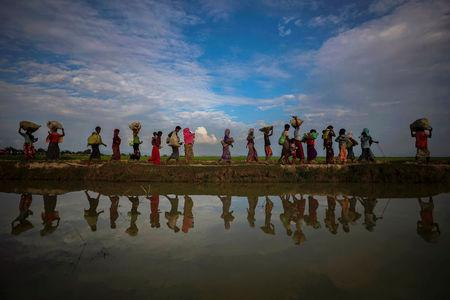 Rohingya refugees are reflected in rain water along an embankment next to paddy fields after fleeing from Myanmar into Palang Khali, near Cox's Bazar, Bangladesh November 2, 2017. REUTERS/Hannah McKay