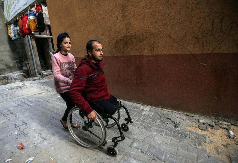 Mohammad Abu Jazar, 34, lost his legs in a 2014 raid on his house in the southern Gaza town of Rafah, which claimed the lives of his wife and two of his children