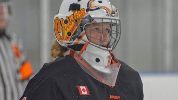 Goaltender Taya Currie of Parkhill, Ont., was selected in the 14th round, 267th overall, by the Sarnia Sting in the Ontario Hockey League Priority Selection draft on Saturday. The 16-year-old is the first female ever chosen. (Elgin Middlesex Chiefs - image credit)