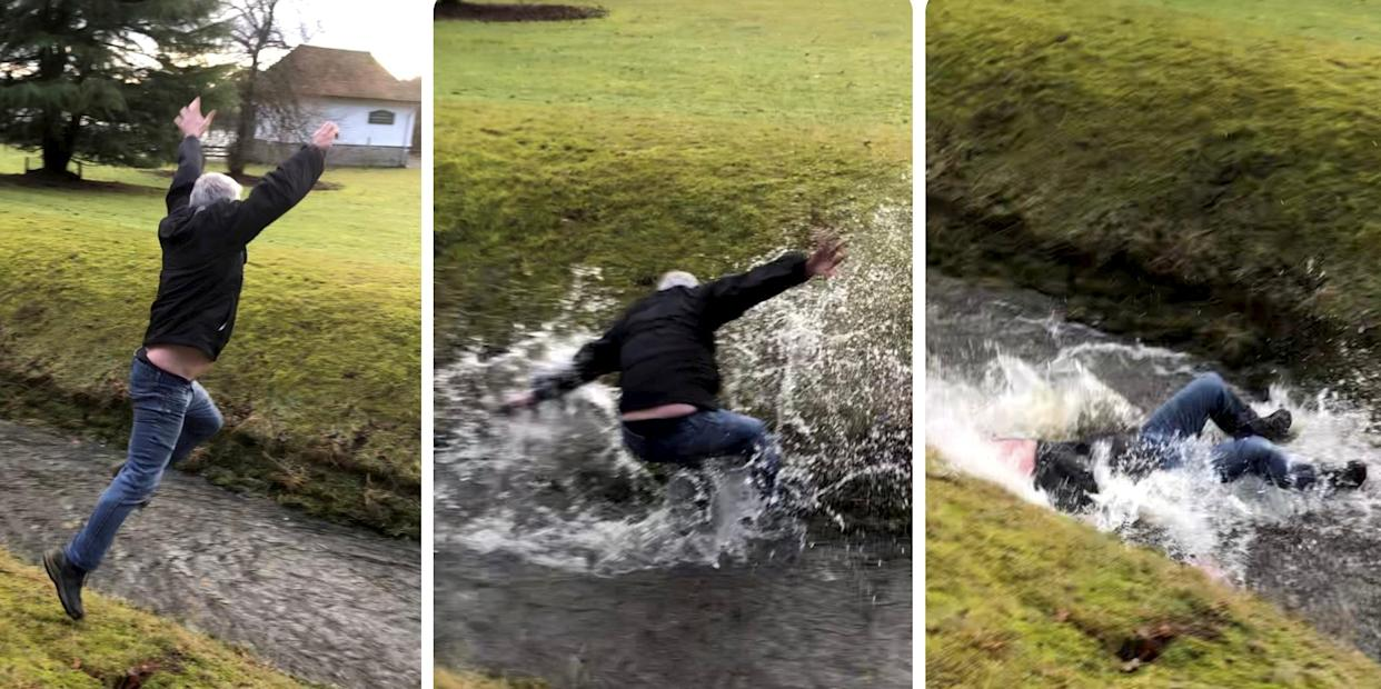 Video grab from the hilarious footage of dad Ian Soutar trying and comically failing to leap over a narrow stream after his daughters  Kimberley Soutar and Charlene McCarroll bet him a tenner that he couldn't make it across.