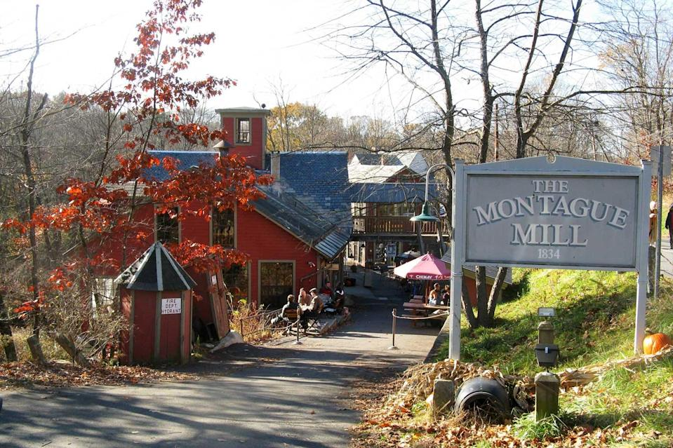 """<p>What's better than a great used bookstore? A great used bookstore with a sense of humor. Housed in an 1842 gristmill on the banks of the Sawmill River, <a rel=""""nofollow noopener"""" href=""""http://www.montaguebookmill.com/"""" target=""""_blank"""" data-ylk=""""slk:The Montague Bookmill"""" class=""""link rapid-noclick-resp"""">The Montague Bookmill</a> advertises: """"Books you don't need in a place you can't find."""" The Montague Bookmill also features the Lady Killigrew Café and The Alvah Stone Restaurant and Bar, and regularly features live musical events. """"Don't look for our catalogue online; we're not that bookstore,"""" their website states. """"But if we can't find the book you're looking for, we'll find you a better one you didn't know you wanted."""" </p>"""