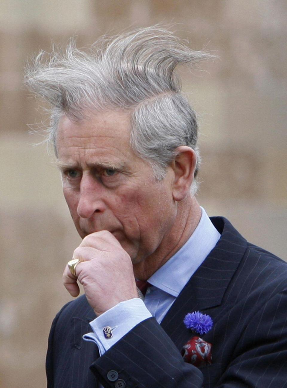 <p>Even royals have bad hair days. Prince Charles walks to a garden party during a visit to Northern Ireland. </p>