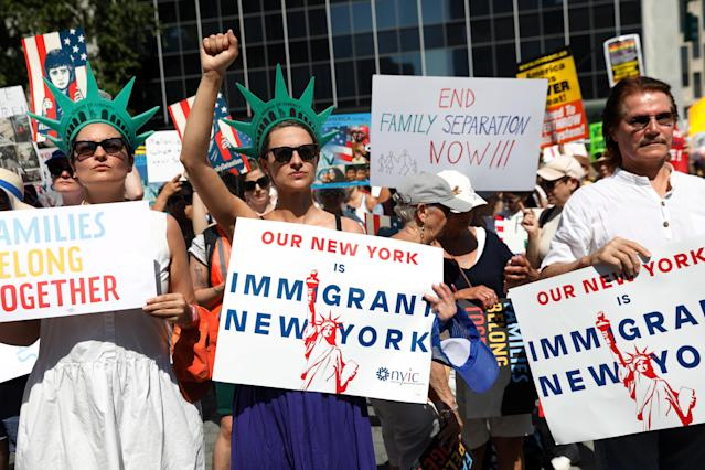 "<p>Demonstrators participate in ""Keep Families Together"" march to protest Trump administration's immigration policy in Manhattan, New York, June 30, 2018. (Photo: Shannon Stapleton/Reuters) </p>"