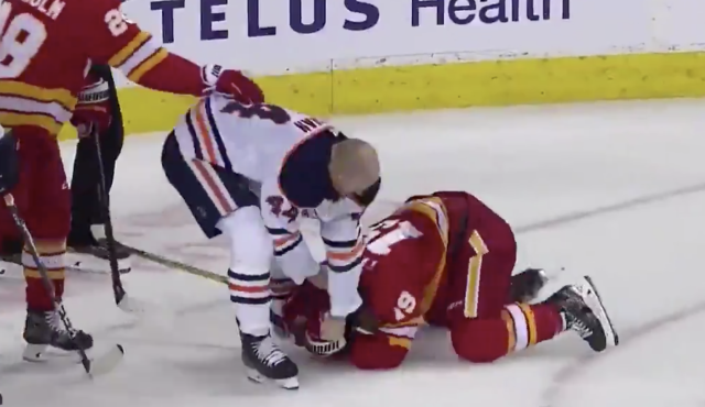 The Oilers' Zack Kassian was hungry for retaliation and Flames forward Matthew Tkachuk was the recipient. (Twitter/@BradyTrett)
