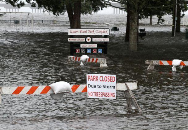 PHOTO: Union Point Park is flooded with rising water from the Neuse and Trent Rivers in New Bern, N.C., Sept. 13, 2018. (Gray Whitley/Sun Journal via AP)