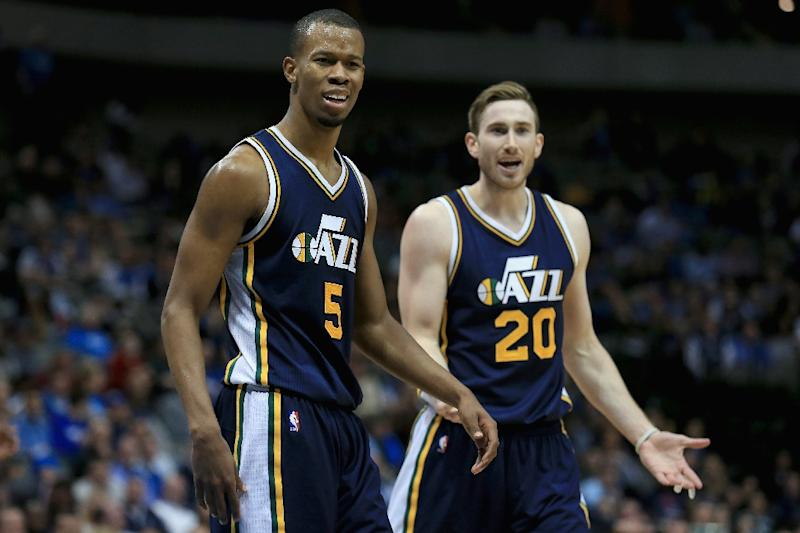 Rodney Hood (L) and Gordon Hayward of the Utah Jazz, seen in action during a NBA game at American Airlines Center in Dallas, Texas