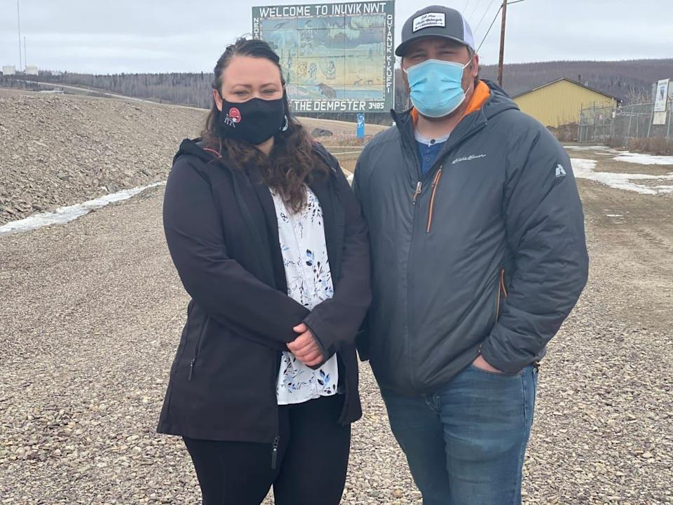 Kelly McLeod, president of the Nihtat Gwich'in, right, is pictured with his late sister Kristine McLeod, who died in a car accident last August. Kelly has been named interim deputy grand chief of Gwich'in Tribal Council, a position his sister held. (Mackenzie Scott/CBC - image credit)