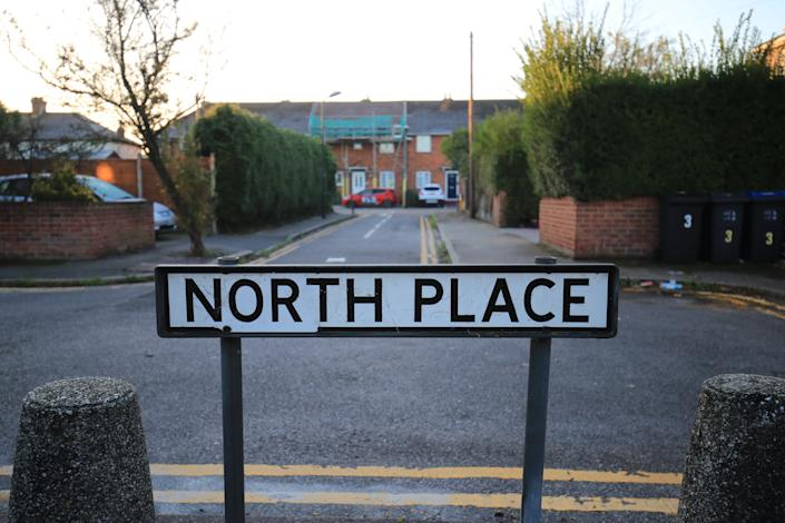 The sign in North Place in Mitcham, near Colliers Wood. A 26-year-old man has been arrested on suspicion of rape after police appealed for a suspect to hand himself in. The Metropolitan Police earlier named Kadian Nelson, 26, as a suspect in the rape of a young girl in Mitcham, south-west London, and urged him to come forward for his own safety. (Photo by Aaron Chown/PA Images via Getty Images)