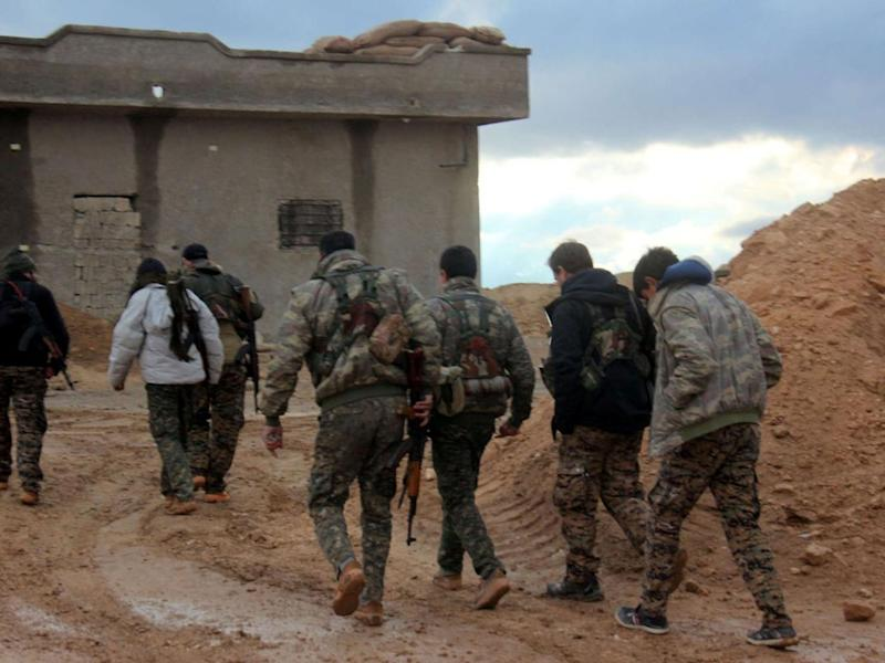 Members of the Bob Crow Brigade on the Raqqa front (Supplied)
