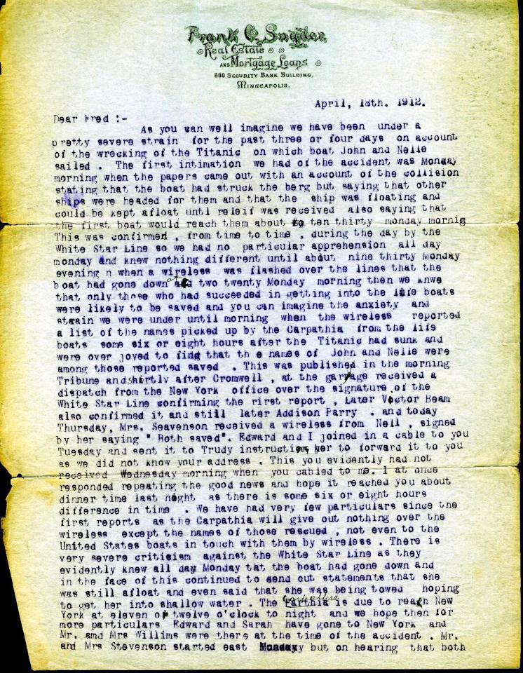 "<span style=""font-family:Arial;"">Dated April 18, 1912,</span><span style=""font-family:Arial;""> a typed letter from John Snyder's father Frank to his brother Fred details the aftermath of the historic incident from his perspective. (Page 1 of 2)<br><br></span>(Photo courtesy of <a target=""_blank"" href=""http://www.weissauctions.com/"">Phillip Weiss Auctions</a>)"