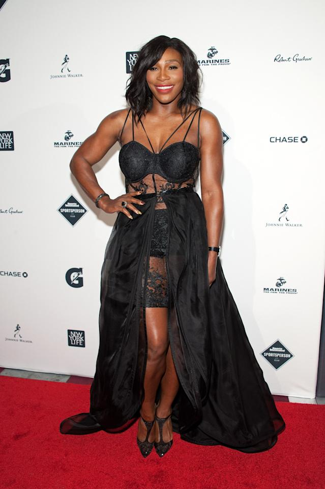 Serena Williams at the 2015 Sports Illustrated Sportsperson of the Year ceremony wearing black lingerie with a maxi skirt.