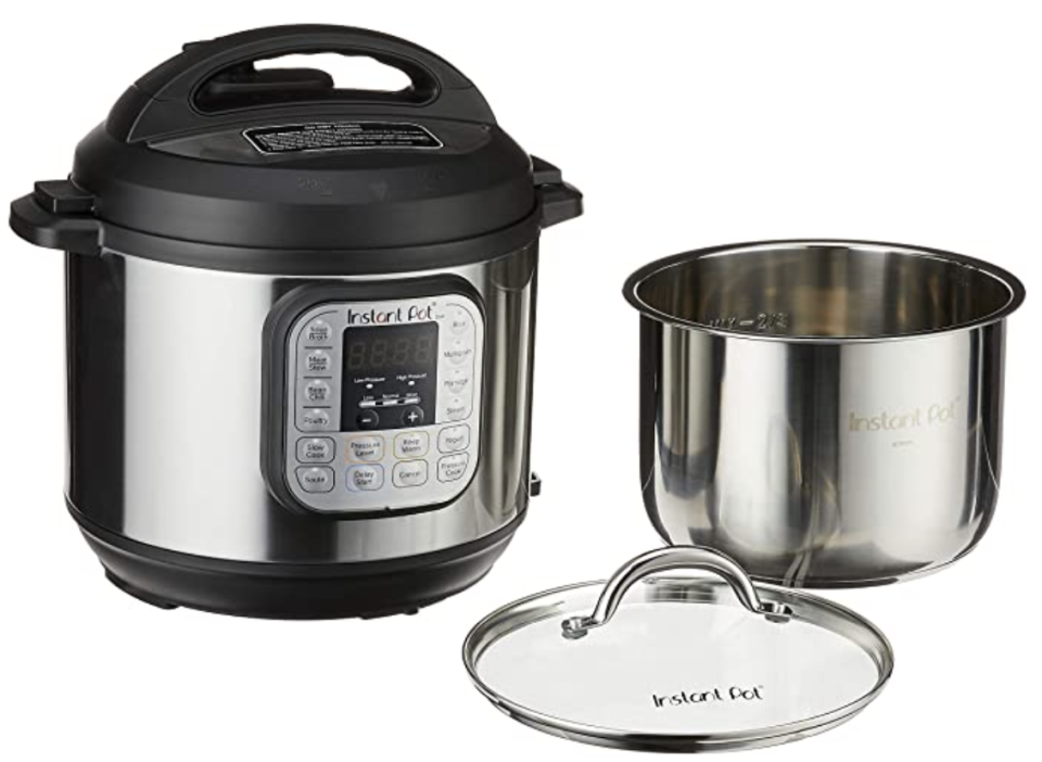 Instant Pot Duo 7-in-1 Electric Pressure Cooker with Tempered Glass Lid and 2 Stainless Steel Pot. PHOTO: Amazon