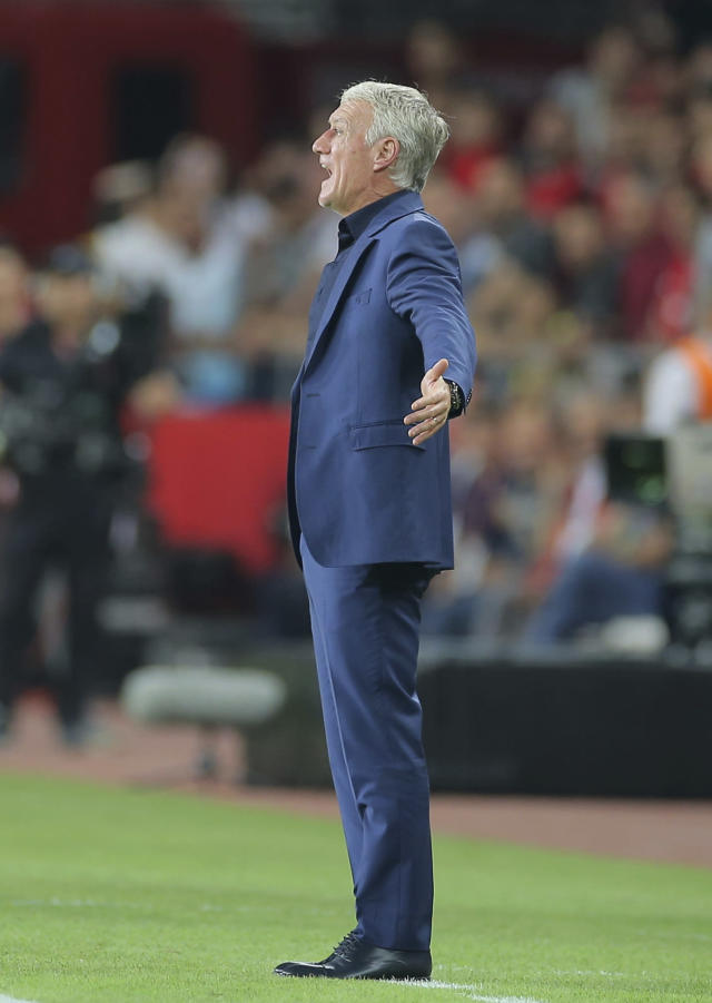 France's coach Didier Deschamps shouts out from the touchline during the Euro 2020 Group H qualifying soccer match between Turkey and France in Konya, Turkey, Saturday June 8, 2019. (AP Photo)