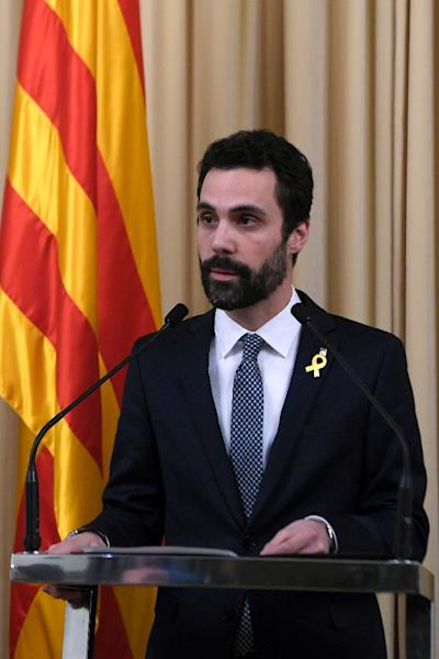 "Roger Torrent said Puigdemont's candidacy to once again head Catalonia's regional government is ""absolutely legitimate"". (AFP Photo/LLUIS GENE)"