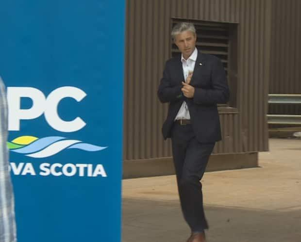 Tory Leader Tim Houston arrives as an election-style announcement in Halifax on Monday. (CBC - image credit)