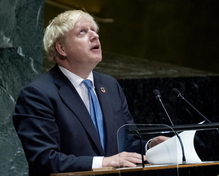British Prime Minister Boris Johnson addresses the 74th session of the United Nations General Assembly, Tuesday, Sept. 24, 2019, at the U.N. headquarters. (AP Photo/Craig Ruttle)
