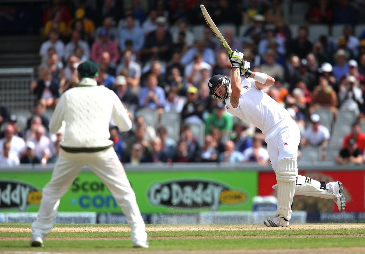 England batsman Kevin Pietersen hits a 6 off Australia spin bowler Nathan Lyon during day three of the Third Investec Ashes test match at Old Trafford Cricket Ground, Manchester.