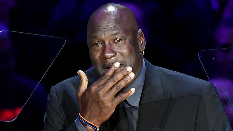 Michael Jordan is pictured speaking at the public memorial for Kobe and Gianna Bryant in Los Angeles.