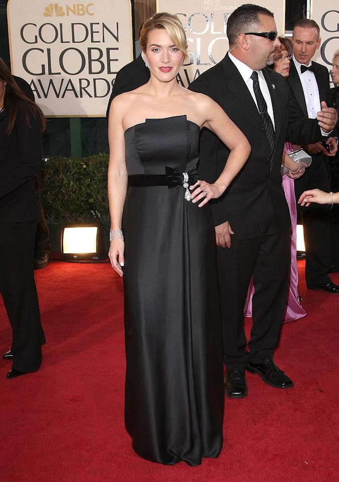 "Kate Winslet (""The Reader,"" ""Revolutionary Road"") looked regal in a black Yves Saint Laurent gown. Jason Merritt/<a href=""http://www.gettyimages.com/"" target=""new"">GettyImages.com</a> - January 11, 2009"