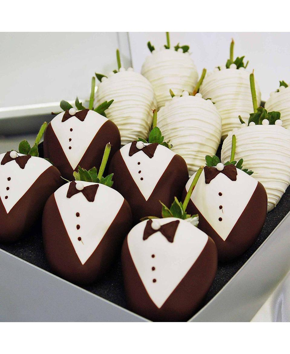 """<p><strong>Chocolate Covered Company</strong></p><p>bloomingdales.com</p><p><strong>$50.00</strong></p><p><a href=""""https://go.redirectingat.com?id=74968X1596630&url=https%3A%2F%2Fwww.bloomingdales.com%2Fshop%2Fproduct%2Fchocolate-covered-company-wedding-belgian-chocolate-covered-strawberries%3FID%3D3399443&sref=https%3A%2F%2Fwww.goodhousekeeping.com%2Fholidays%2Fvalentines-day-ideas%2Fg30531374%2Fwhere-to-buy-chocolate-covered-strawberries%2F"""" rel=""""nofollow noopener"""" target=""""_blank"""" data-ylk=""""slk:Shop Now"""" class=""""link rapid-noclick-resp"""">Shop Now</a></p><p>You can order these snazzy strawberries off of Bloomingdales, where they have a small selection of stylish gourmet gifts. The berries ship directly from the vendor and usually ships from the facility within two business days.</p><p><em>Pickup available at a store near you.</em></p>"""
