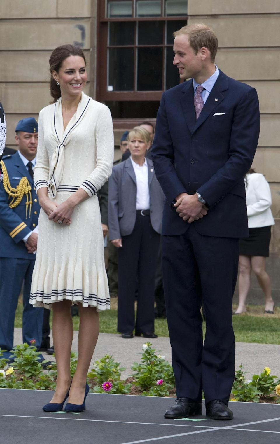 <p>Kate donned a knitted sailor dress by Alexander McQueen and navy pumps for a day in Canada. </p><p><i>[Photo: PA]</i></p>