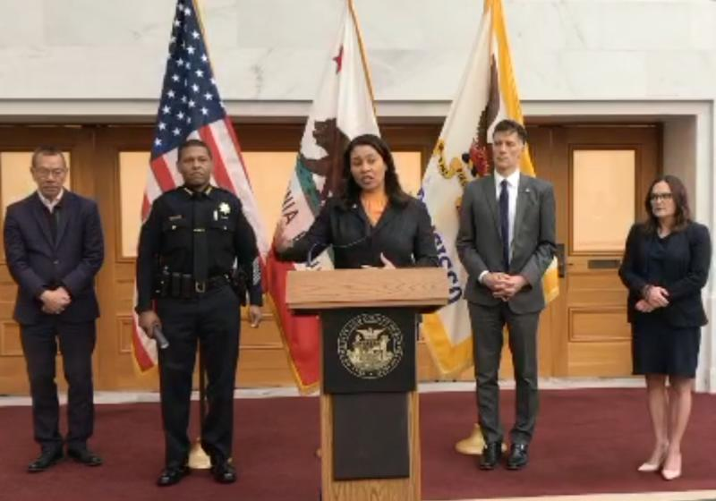 Mayor London Breed speaks at a press conference on Monday announcing the shelter-in-place order