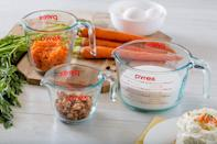"""<p>Get yourself a proper measuring set like the <span>Pyrex Glass Measuring Cup Set (3-Piece, Microwave and Oven Safe)</span> ($18), so you never have to """"guesstimate"""" again.</p>"""