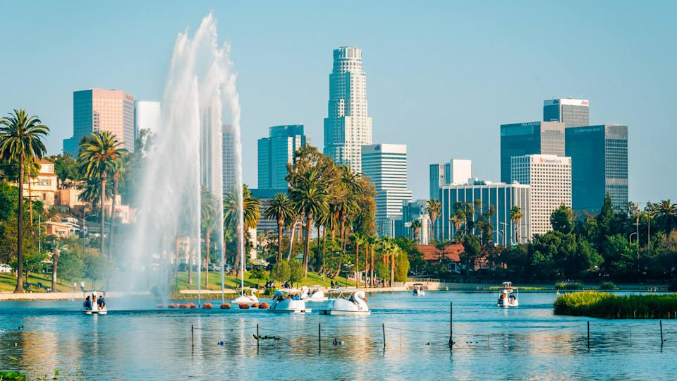 The Los Angeles skyline and lake at Echo Park, in Los Angeles, California - Image.