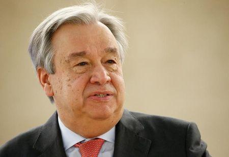 U.N. Secretary general Antonio Guterres attends the 34th session of the Human Rights Council at the European headquarters of the United Nations in Geneva
