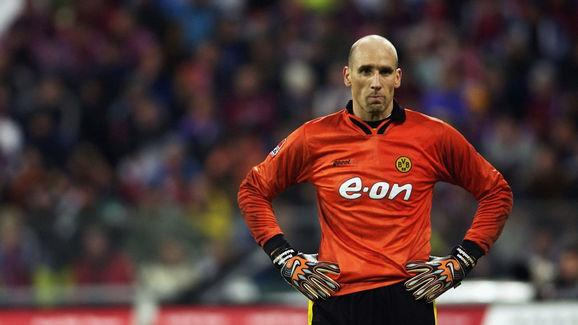 Jan Koller the striker for Borussia Dortmund as substitute goal keeper