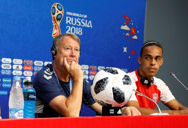 Soccer Football - World Cup - Denmark Press Conference - Samara Arena, Samara, Russia - June 20, 2018 Denmark coach Age Hareide and Yussuf Poulsen during the press conference REUTERS/David Gray