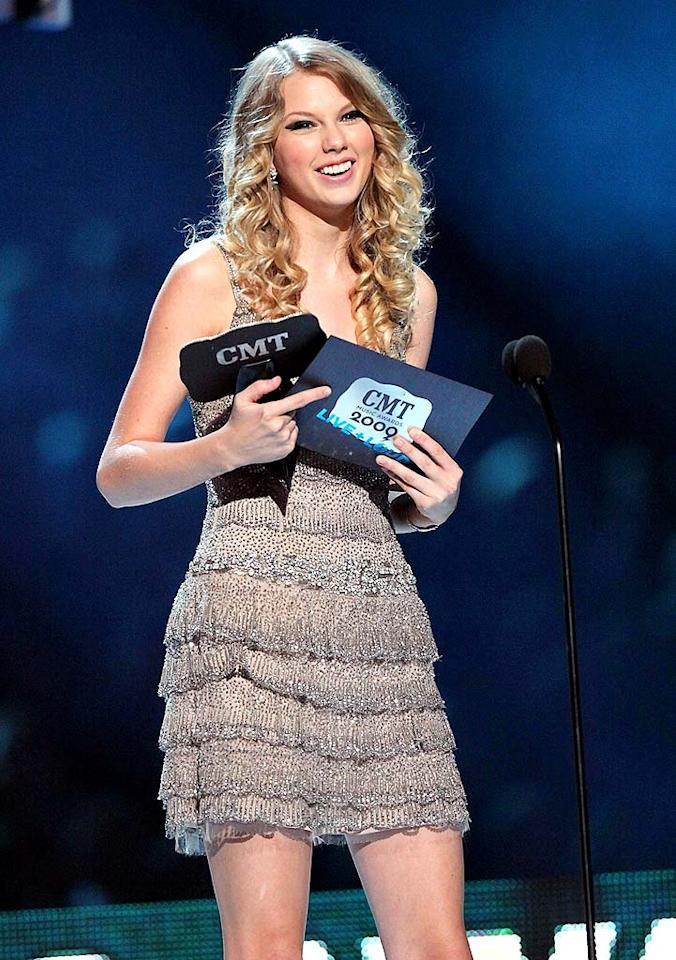 """Taylor Swift was a big hit at this week's CMT Awards, performing with Def Leppard, rapping with T-Pain in a pretaped skit, and taking home Video of the Year for """"Love Story."""" Tony R. Phipps/<a href=""""http://www.wireimage.com"""" target=""""new"""">WireImage.com</a> - June 16, 2009"""