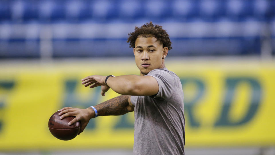 FILE - North Dakota State quarterback Trey Lance throws at the school's football NFL Pro Day in Fargo, N.D., in this Friday, March, 12, 2021, file photo. Lance will likely be one of the first two players drafted from non-Football Bowl Subdivision programs next week. (AP Photo/Andy Clayton-King, File)